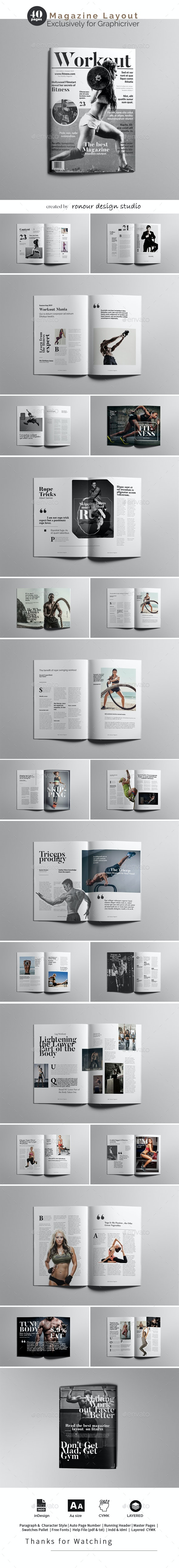Fitness Magazine Design Layout - Magazines Print Templates