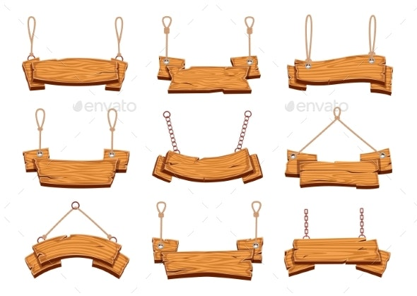 Hanging Wood Signs. Blank Wooden Signboards - Business Conceptual