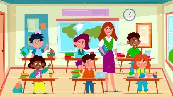 Kids and Teacher in Classroom. School Pedagogue - Miscellaneous Vectors