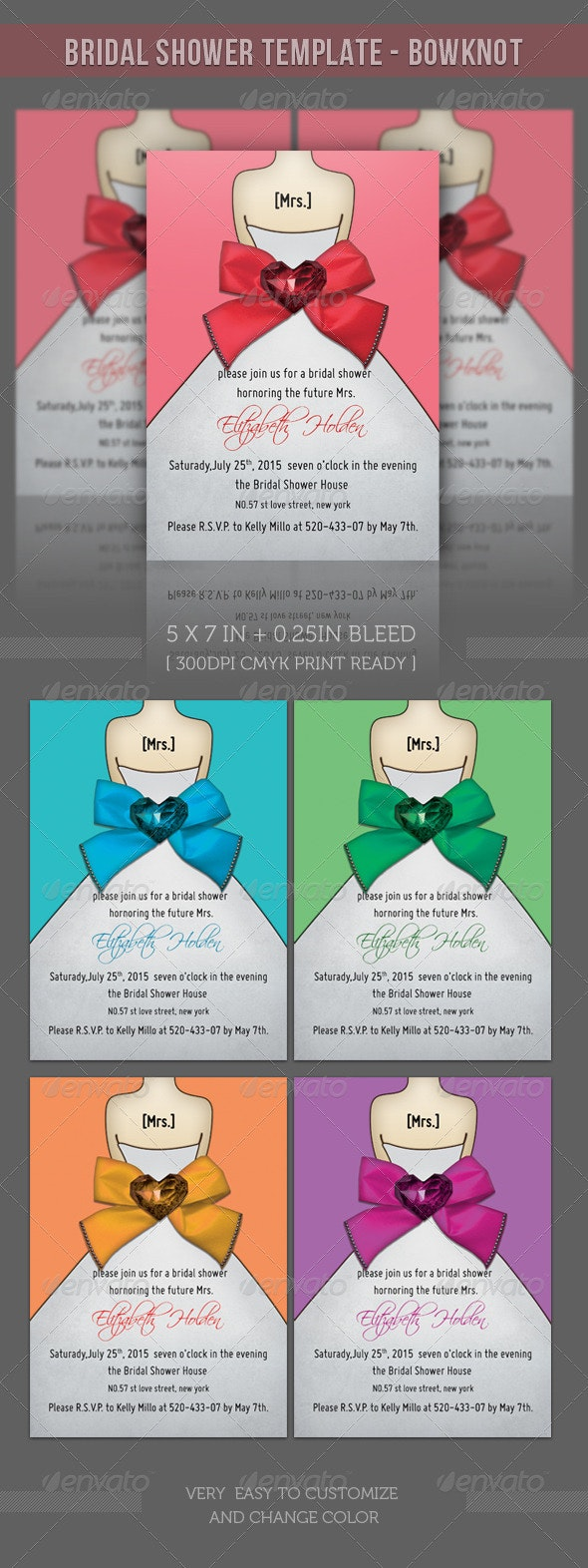 Bridal Shower Template - Bowknot - Weddings Cards & Invites