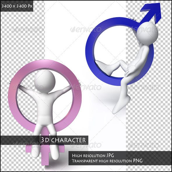 3D Character with Symbols of Man and Woman