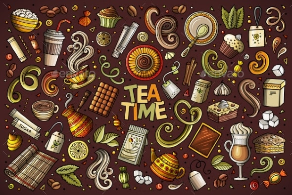 Vector Doodle Cartoon Set of Tea and Coffee - Food Objects