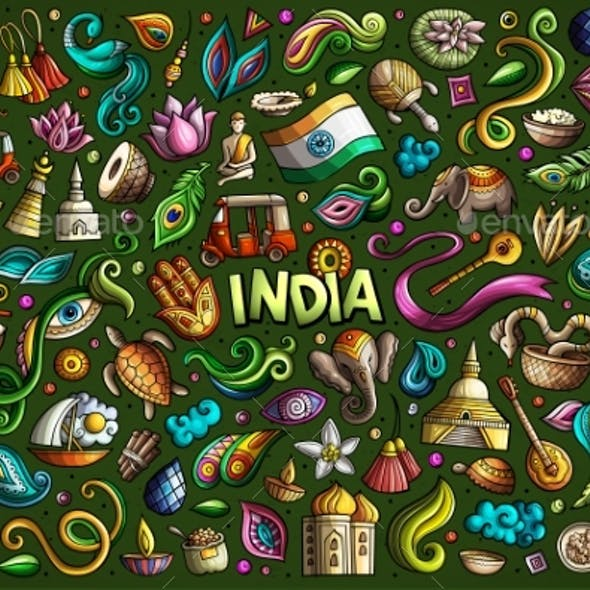 Vector Doodle Cartoon Set of Indian Objects