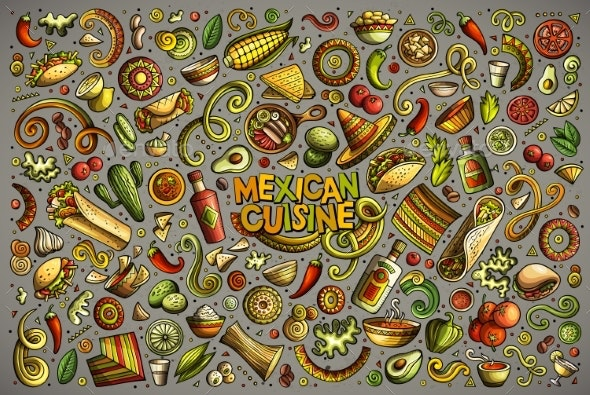 Doodle Cartoon Set of Mexican Food Objects - Food Objects