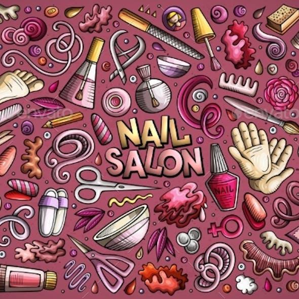 Vector Cartoon Set of Nail Salon Theme Objects