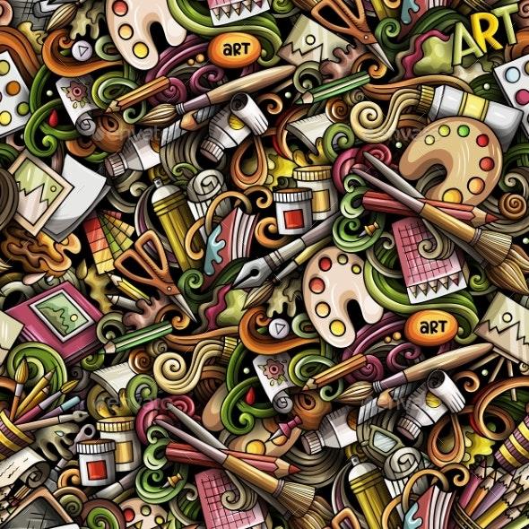 Cartoon Cute Doodles Hand Drawn Artist Seamless - Backgrounds Decorative