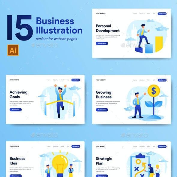 Landing Page Template Business Illustration Set