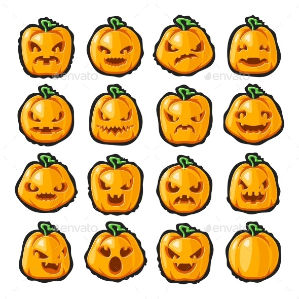 Halloween Pumpkin Lantern Scary Faces Smile Emoji - Food Objects