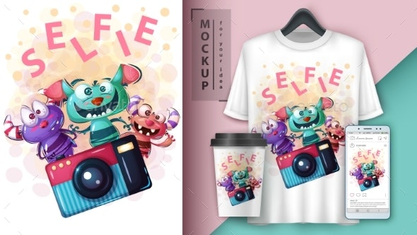Selfie Monster - Mockup for Your Idea - Animals Characters