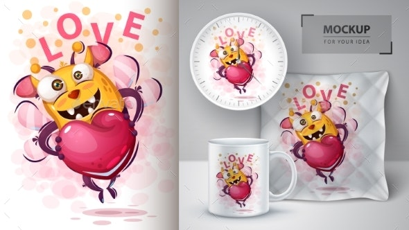 Bee with Heart - Mockup for Your Idea - Animals Characters