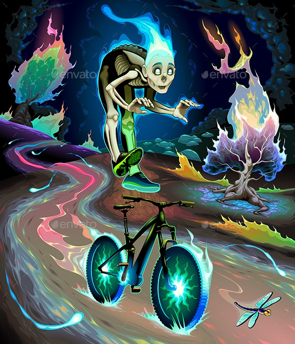 Ghost Boy is Riding the Bicycle in the Fluvial Park - Halloween Seasons/Holidays