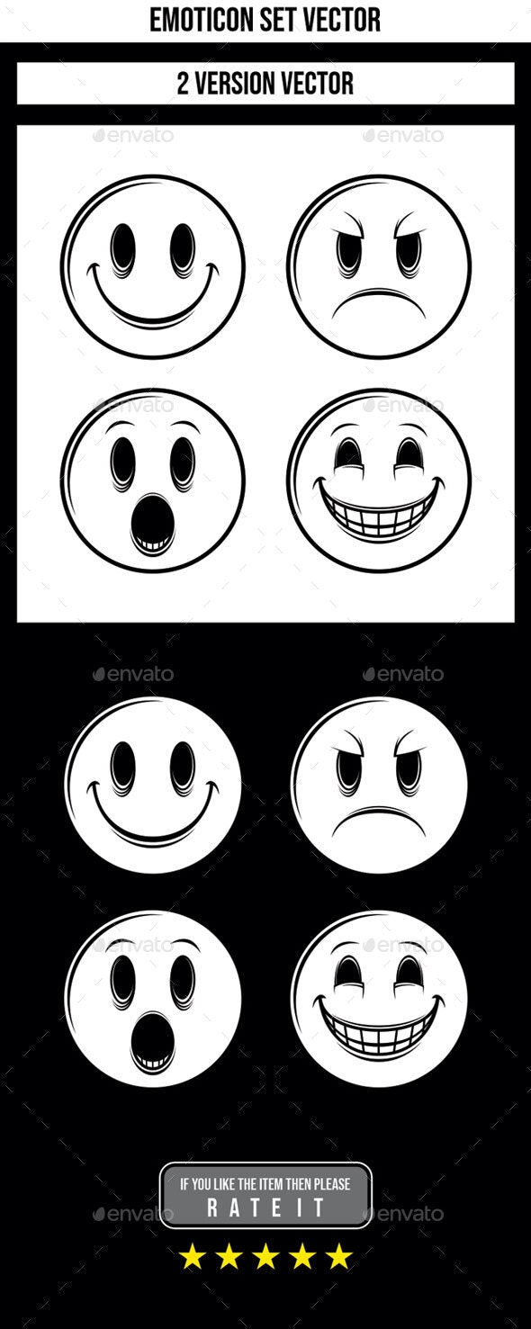 Emoticon Black & White Set Vector - Miscellaneous Characters
