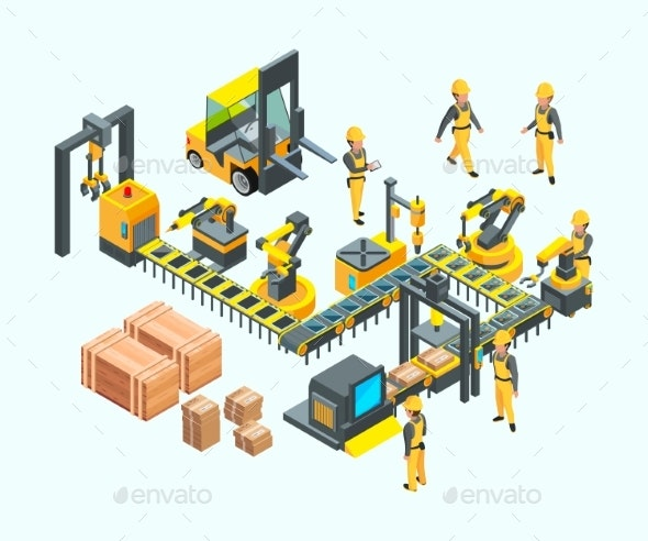 Factory Isometric. Industrial Machinery Production - Objects Vectors