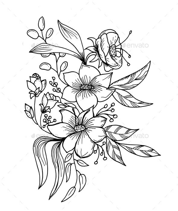 Flower Hand Drawn Black and White - Flowers & Plants Nature