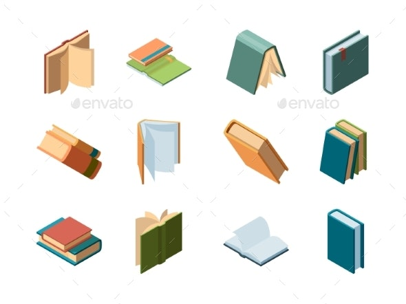 Books Isometric. Library Symbols School Items - Objects Vectors