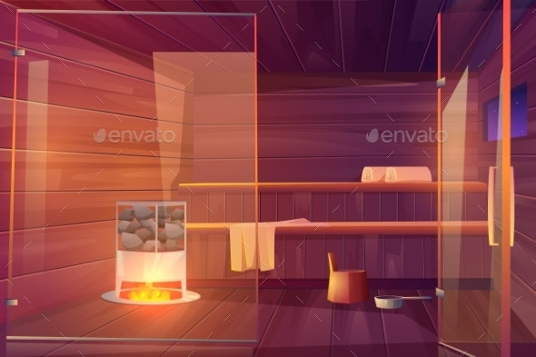 Sauna Empty Room with Glass Doors Wooden Bathhouse - Buildings Objects