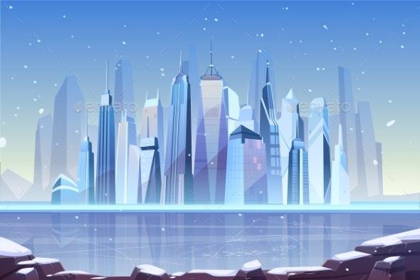 Cold Winter in Modern Metropolis Cartoon Vector - Backgrounds Business