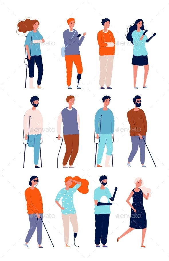 Disabled Characters. - People Characters