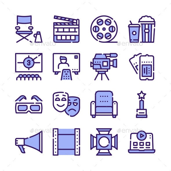 Cinema Production Color Icons Set - Miscellaneous Vectors