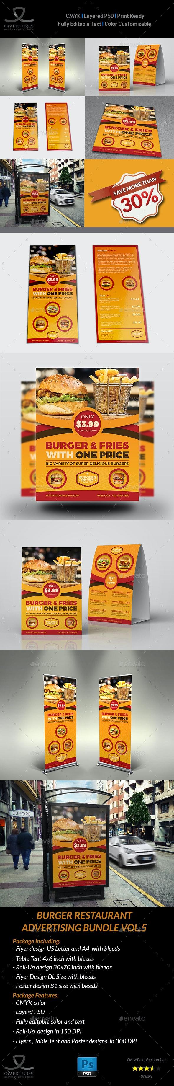 Burger Restaurant Advertising Bundle Vol.5 - Signage Print Templates