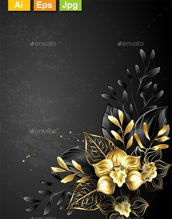 Composition of Black Orchids - Backgrounds Decorative