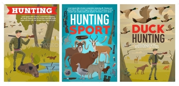 Hunter and Wild Animals. Ammunition, Hunting Sport - Sports/Activity Conceptual