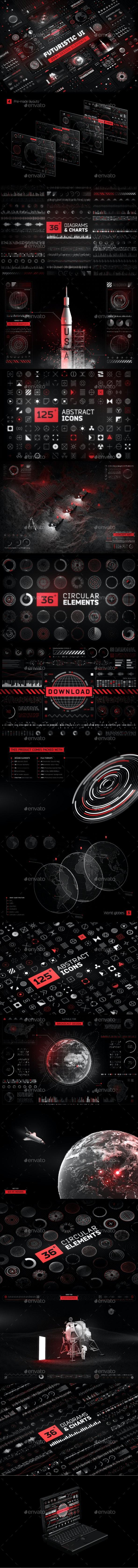 Futuristic UI Kit • 200 design elements - Miscellaneous Product Mock-Ups
