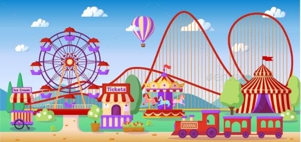 Amusement Park Panoramic Landscape - Sports/Activity Conceptual