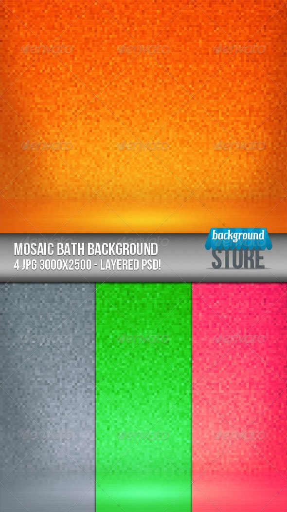 Mosaic Bath Background - 3D Backgrounds