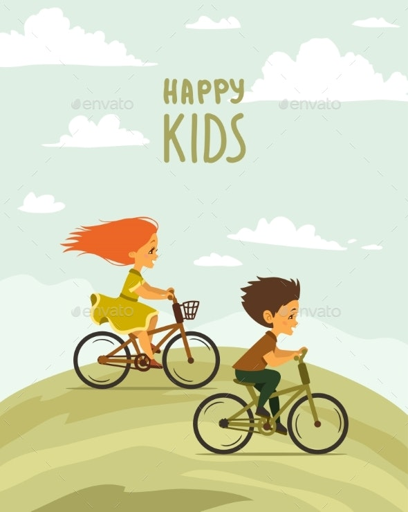 Children on a Bike - People Characters