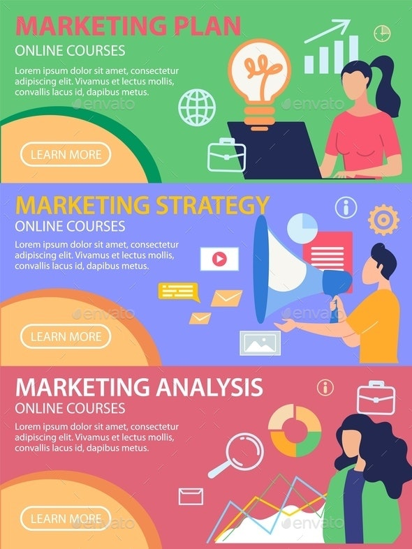 Poster Marketing Analysis Online Courses Flat. - Miscellaneous Vectors