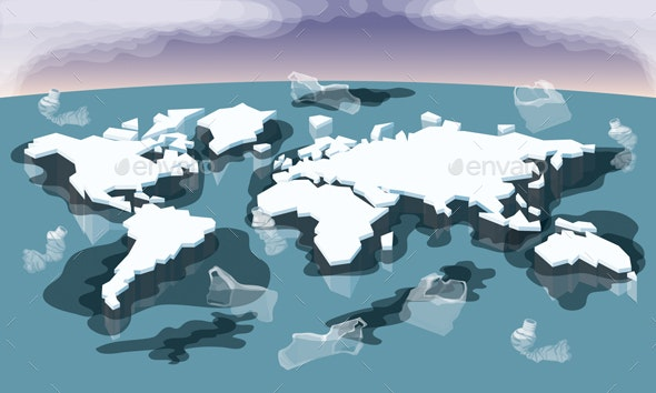 Melting Ice Map Of World - Conceptual Vectors