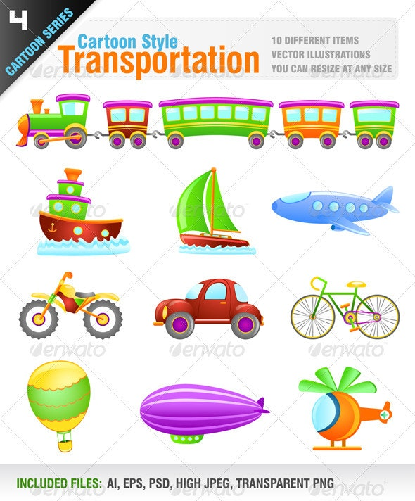Cartoon Style Transportation - Objects Vectors