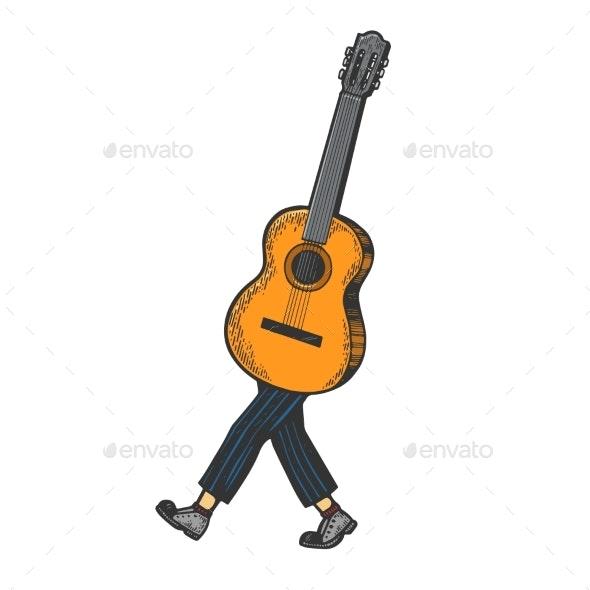 Acoustic Guitar Walks on Its Feet Sketch Engraving