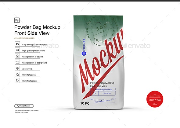 Powder Bag Mockup Front Side View - Product Mock-Ups Graphics