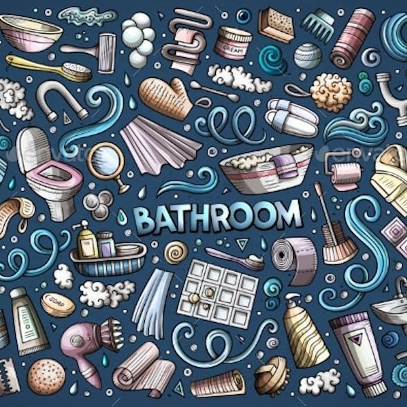Cartoon Set of Bathroom Objects and Symbols