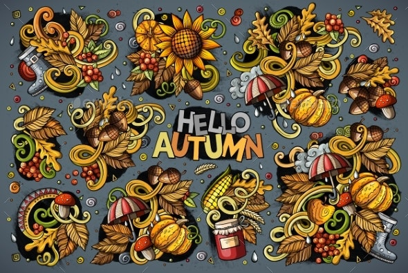 Set of Autumn Theme Items, Objects and Symbols - Flowers & Plants Nature