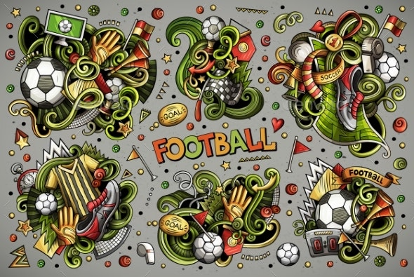 Vector Doodles Cartoon Set of Football - Sports/Activity Conceptual