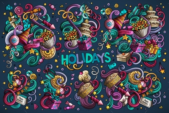 Colorful Set of Holidays Object - Seasons/Holidays Conceptual