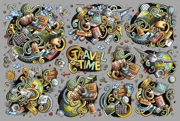 Vector Doodles Cartoon Set of Travel Combinations - Travel Conceptual