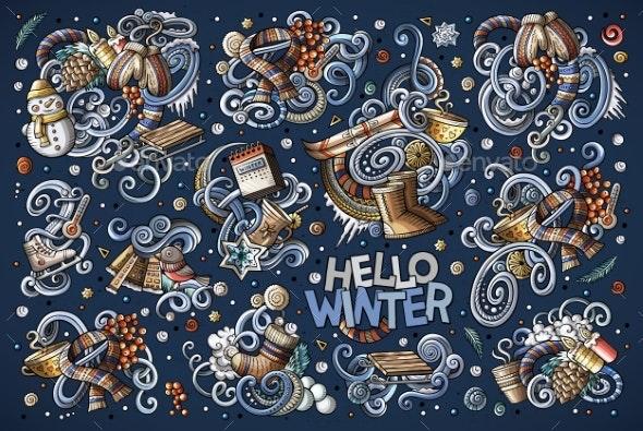 Cartoon Set of Winter Season Doodles Designs - Seasons/Holidays Conceptual