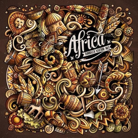 Cartoon Vector Doodles Africa Illustration - Travel Conceptual