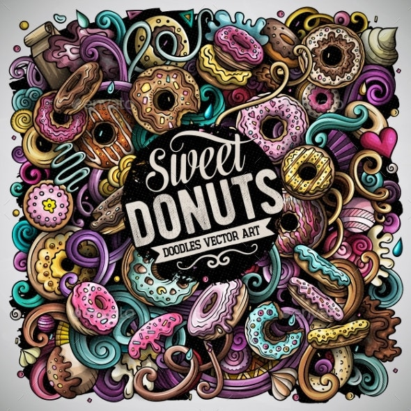 Donuts Hand Drawn Vector Doodles Illustration - Food Objects