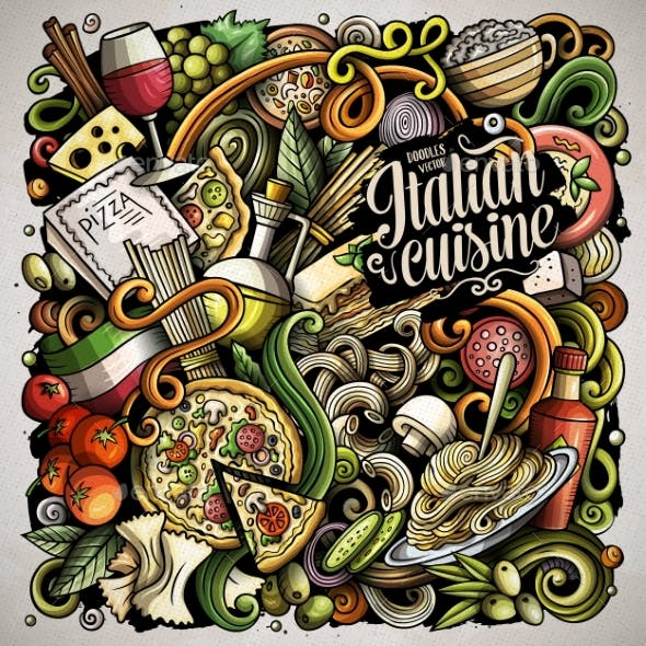 Cartoon Vector Doodles Italian Food Illustration