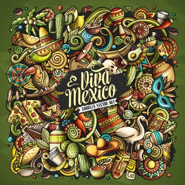 Cartoon Vector Doodles Latin America Illustration - Backgrounds Decorative