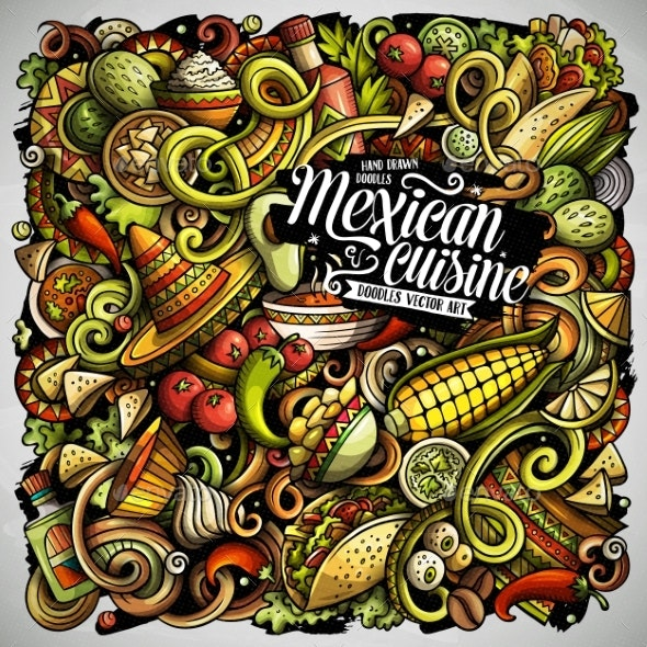 Mexican Food Hand Drawn Vector Doodles - Food Objects