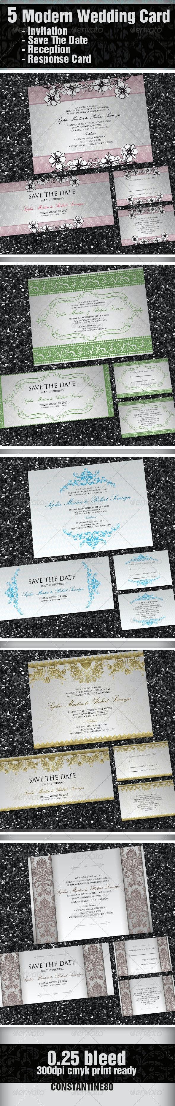 5 Items Modern Wedding Card - Weddings Cards & Invites