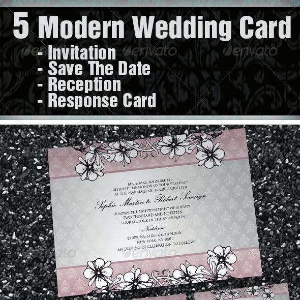 5 Items Modern Wedding Card