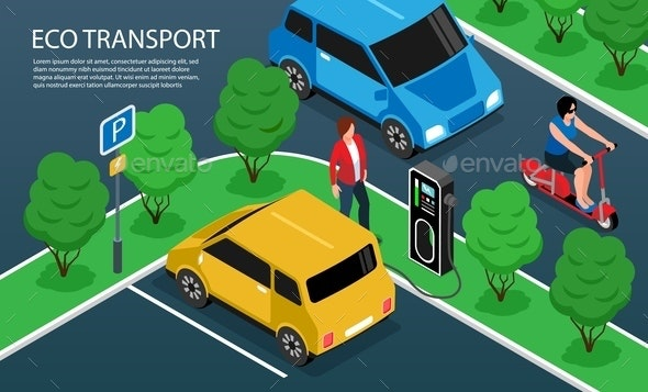 Eco Transport Horizontal Illustration - Miscellaneous Vectors