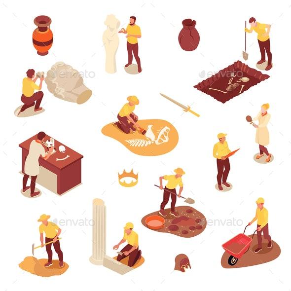 Isometric Archeology Icons Set - Miscellaneous Vectors